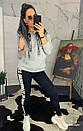 Женский теплый свитшот на флисе с лампасами 44so793, фото 3