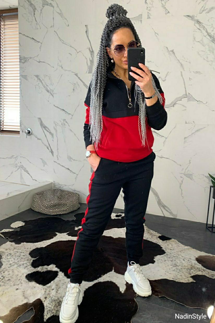 Женский спортивный костюм теплый на флисе двухцветный 44so794