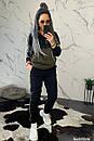 Женский спортивный костюм теплый на флисе двухцветный 44so794, фото 3