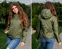 Куртка женская демисезонная короткая легкая плащевка на синтепоне 42 размер, цвет хаки.