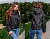Куртка женская демисезонная короткая легкая плащевка на синтепоне 42 размера, черный цвет.