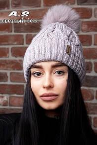 Женский набор шапка с подворотом и снуд из шерсти 52gu186
