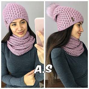 Женский набор шапка и снуд с шерстью и бубоном на шапке 52gu187