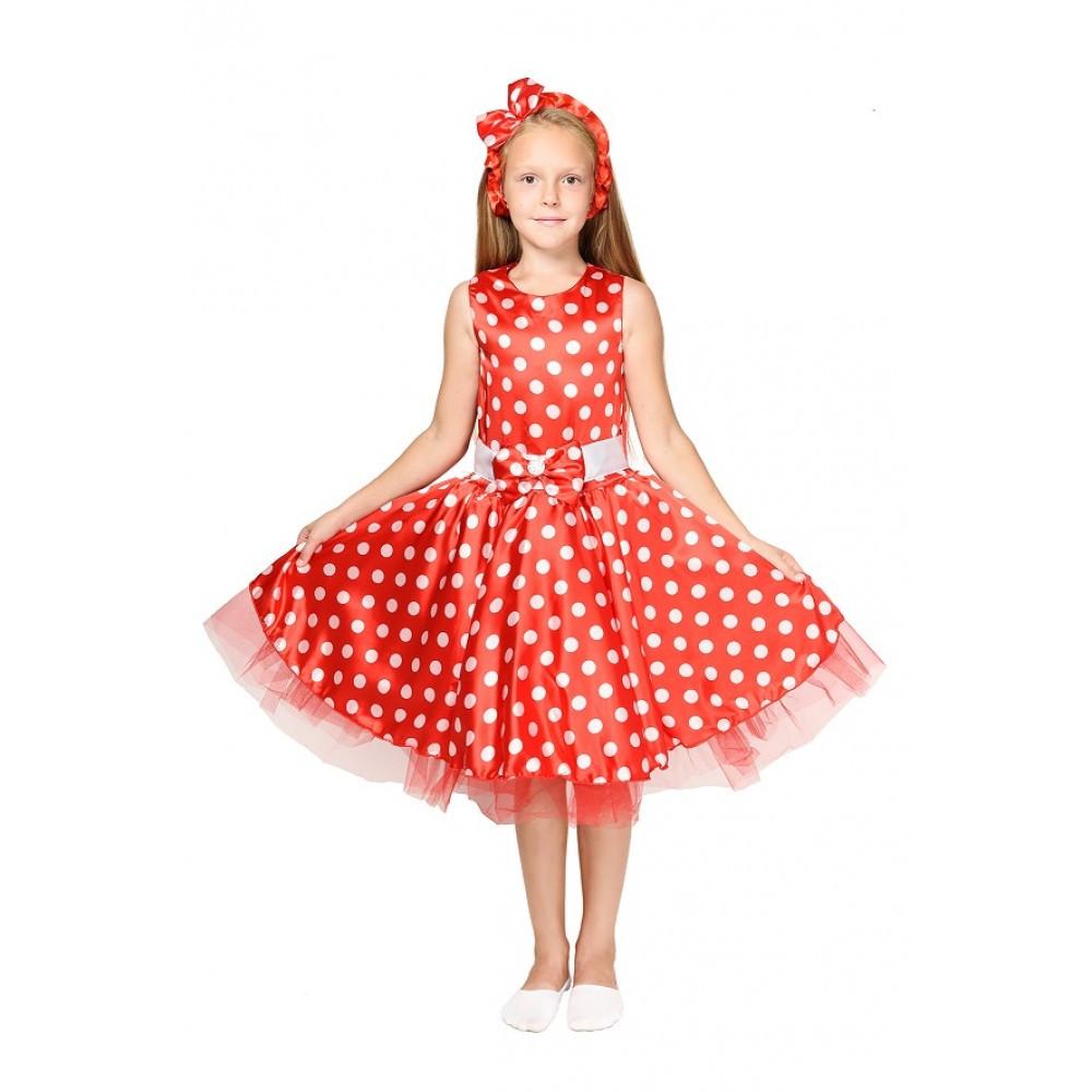 Детский маскарадный костюм Стиляги для девочки красный