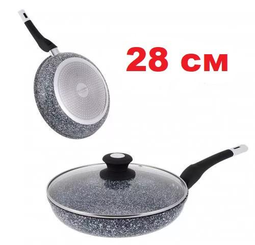 Сковорода с гранитным покрытием и крышкой 28 см UNIQUE UN-5117