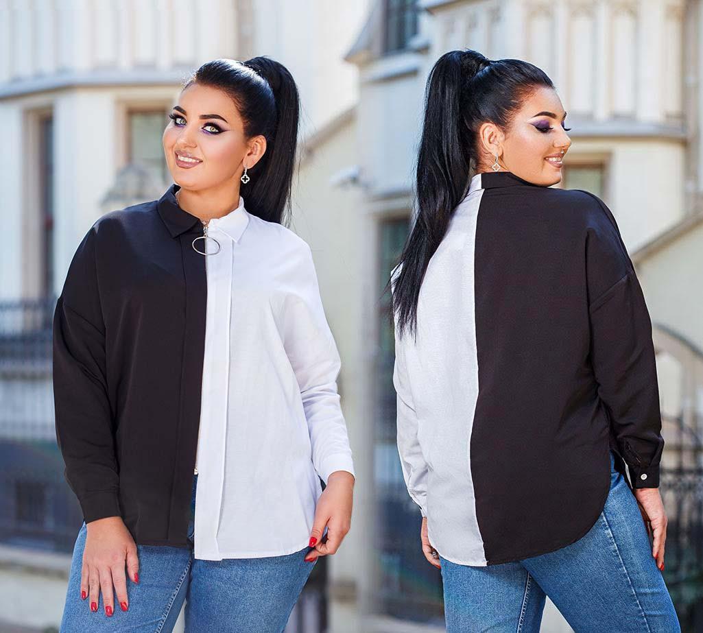 """Женская стильная рубашка до батальных размеров 2002 """"Коттон Контраст Змейка"""""""