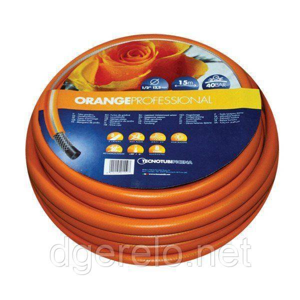 Шланг садовый Tecnotubi Orange Professional для полива диаметр 1/2 дюйма, длина 25 м (OR 1/2 25)