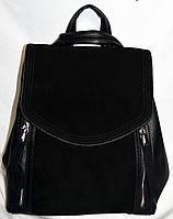 Женский черный рюкзак-сумка из натуральной замши 26*20 см
