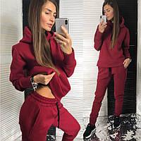 Женский костюм теплый на зиму бордовго цвета 42-44, 46-48