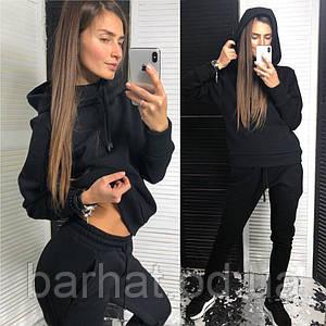 Женский костюм теплый на зиму черного цвета 42-44, 46-48