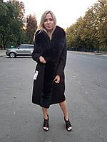 Пальто женское с мехом песца ПТ-01