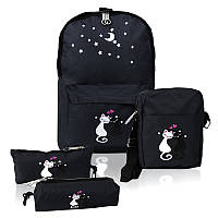 Городской рюкзак для девочек 4 предмета Котики черный 154084