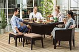 Набір садових меблів Columbia Dining Set 7 Pcs Brown ( коричневий ) з штучного ротанга ( Keter ), фото 6