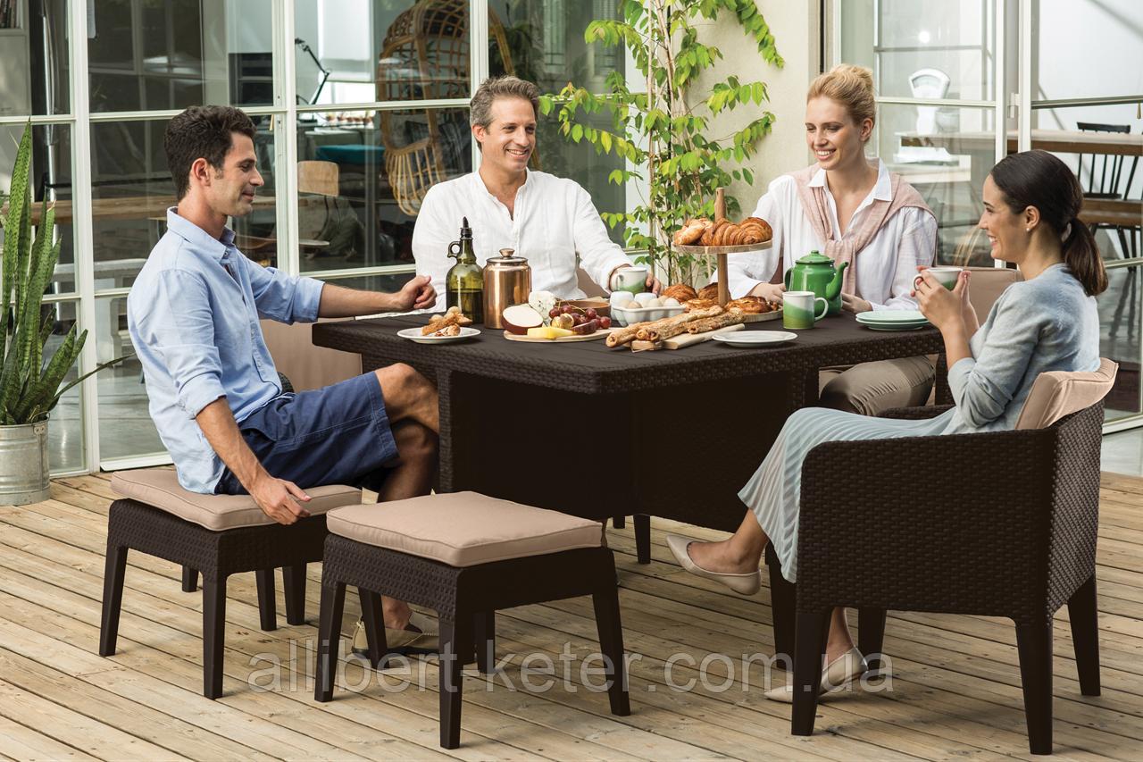 Набір садових меблів Columbia Dining Set 7 Pcs Brown ( коричневий ) з штучного ротанга ( Keter )
