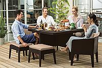 Набор садовой мебели Columbia Dining Set 7 Pcs Brown ( коричневый ) из искусственного ротанга, фото 1
