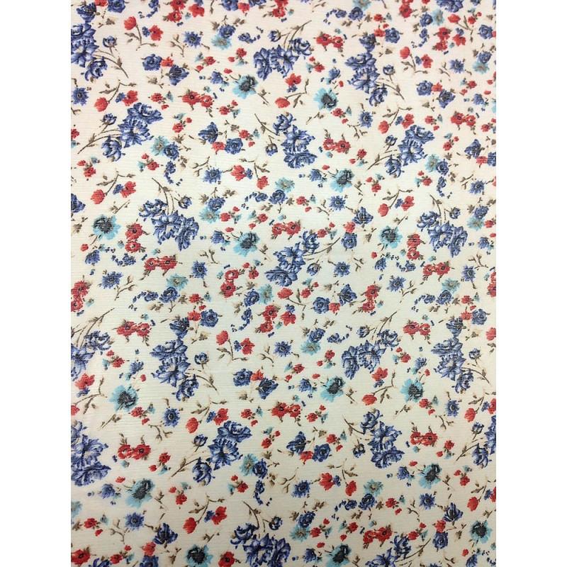 Шифон принт - белый фон мелкие синие, красные и голубые цветы