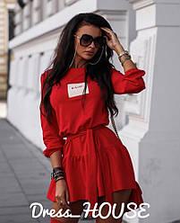 Женское стильное платье красного цвета,с поясом