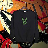 Мужской осенний спортивный черный свитшот, кофта, толстовка, реглан марихуана, канабис, конопля