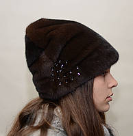 Норковая шапка женская рукавичка,высокая защип, фото 1