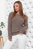 Женский вязаный однотонный свитер oversize с круглым вырезом кофейный размер 42-46