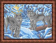 Схема для полной вышивки бисером - Семья волков в зимнем лесу, Арт. ЖБп2-8