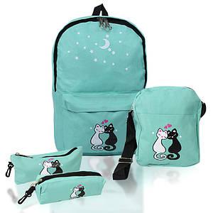 Городской рюкзак для девочек 4 предмета Котики зеленый 154081