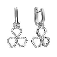 Серебряные серьги-подвески Трилистник с белыми фианитами 000096342