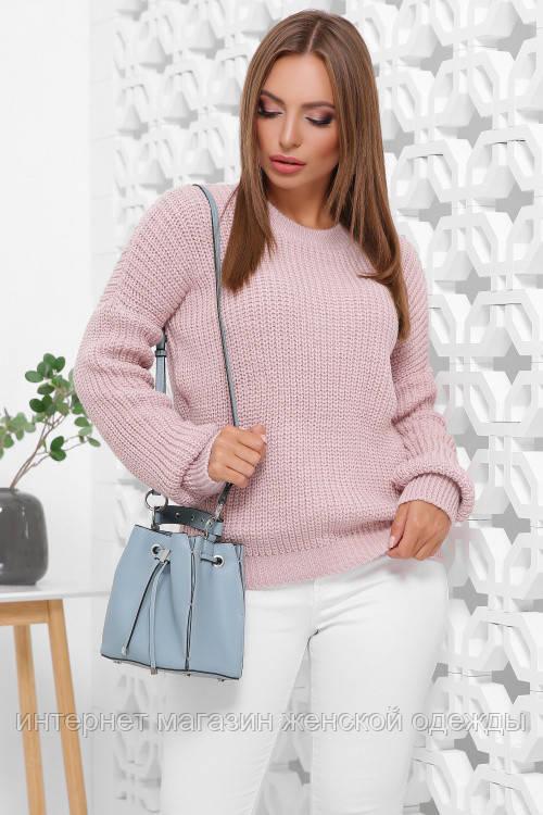 Женский вязаный однотонный свитер oversize с круглым вырезом пудровый