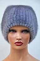 """Норковая шапка женская на вязаной основе """"Шарик с полосками"""", фото 1"""