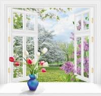 Фотообои, За окном весна 6 листов, 140х145см