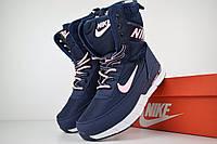 Женские зимние сапоги на меху в стиле Nike Zoom, текстильная термоплащевка, пена, синие с розовым 36 (23 см)
