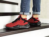 Мужские кроссовки в стиле Adidas Y-3 Kaiwa, замша, пена, красные с черным 41 (26 см)
