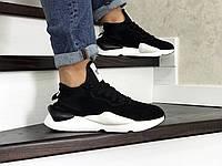 Мужские кроссовки в стиле Adidas Y-3 Kaiwa, замша, пена, черные с белым 43 (27,2 см)