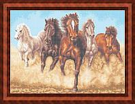 Схема для полной вышивки бисером - Табун бегущих лошадей, Арт. ЖБп2-5