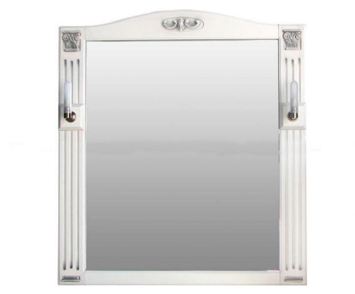 Зеркало Атолл Венеция bianco (чёрная патина), 830х30х970 мм