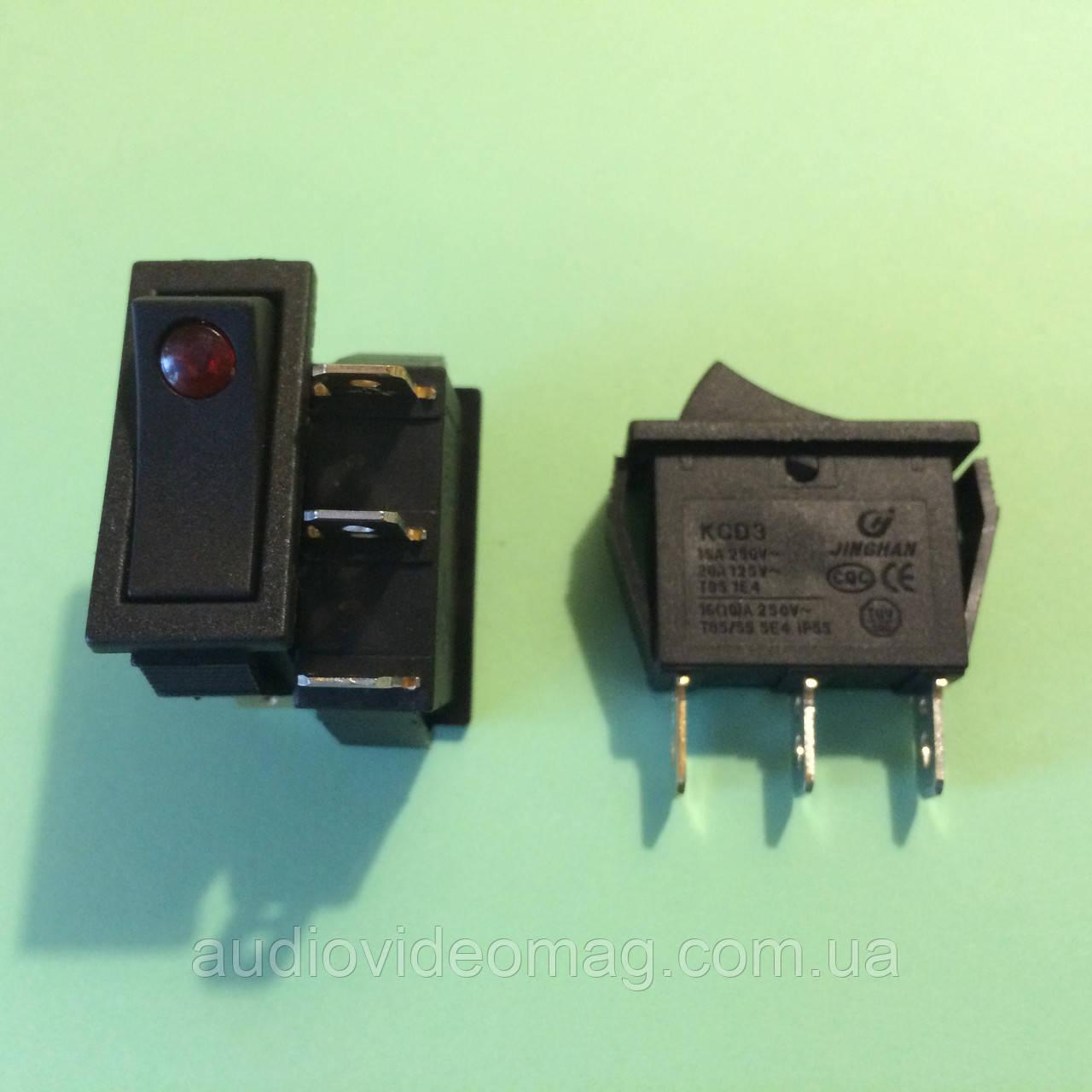 Кнопочный выключатель 250V 15A, чёрный 28.5 х 10.5мм, с подсветкой