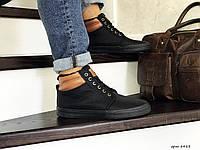 Мужские зимние ботинки на меху в стиле Vintage, черные 42 (26,6 см)