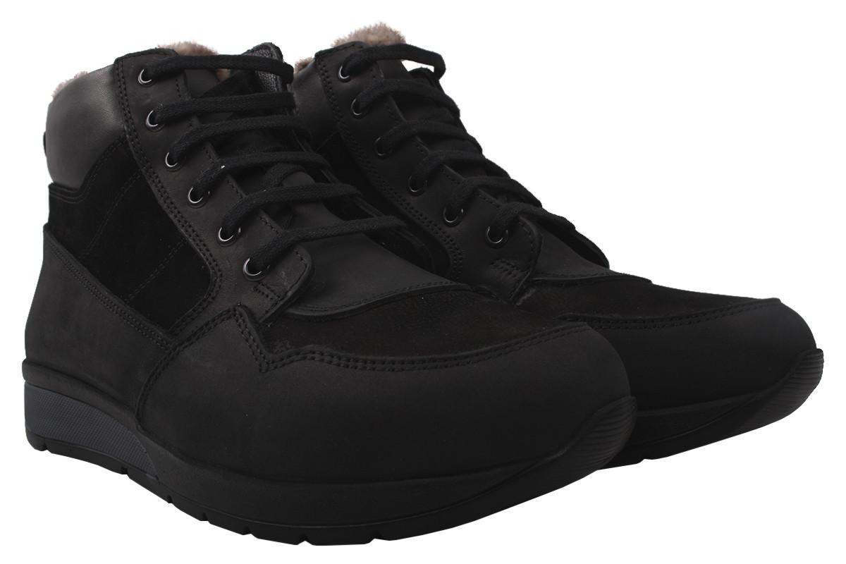 Ботинки мужские Entino зимние натуральная кожа+нубук, цвет черный, размер 40-44, Турция