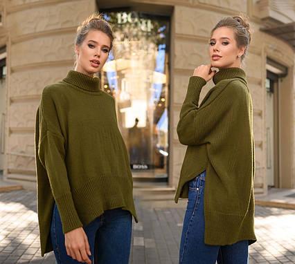 """Стильная женская вязаная туника-свитер до больших размеров 881 """"Стойка Разрезы"""" в расцветках"""