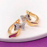 """Серьги детские Xuping Jewelry """"Бантики"""" медицинское золото, позолота 18К + родий английский замок. А/В 4376"""