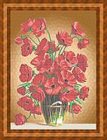 Схема для частичной вышивки бисером - Букет маков в вазе, Арт. НБч2-4-1