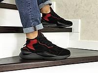 Мужские кроссовки в стиле Adidas Y-3 Kaiwa, замша, пена, черные с красным 41 (26 см)