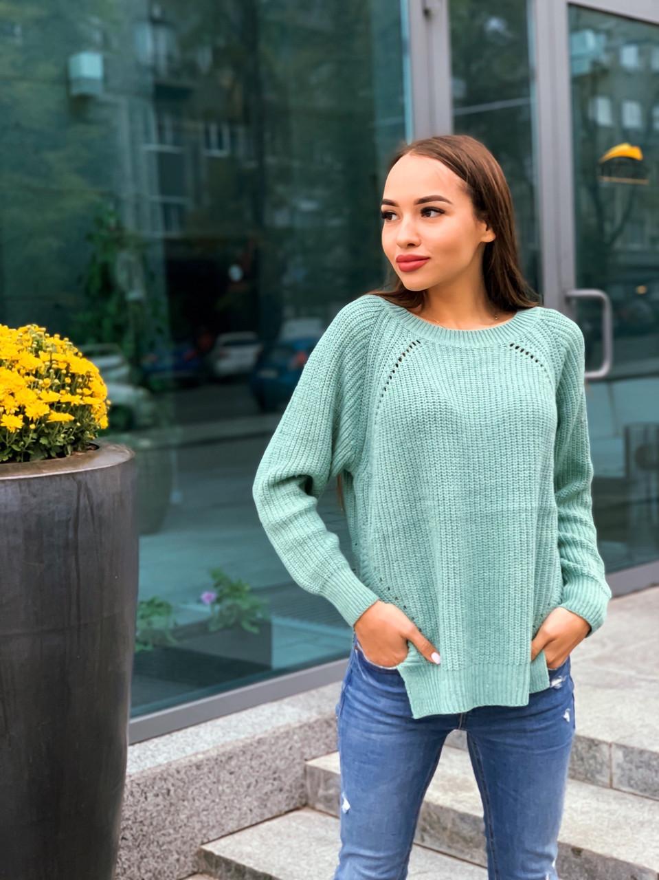 Женский свободный вязаный свитер с рукавом регланом 65ddet646