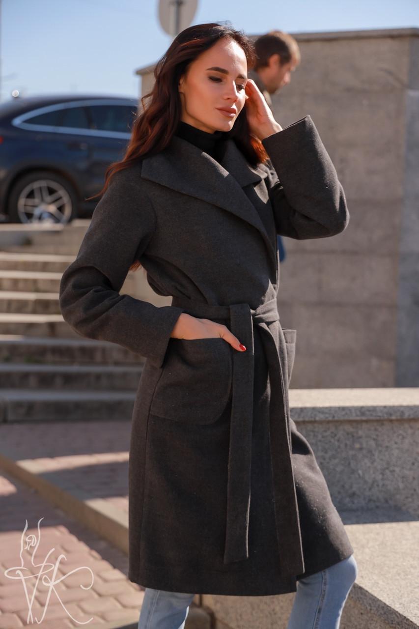 Женское кашемировое Пальто классика на запах до колен длиной 60pal232