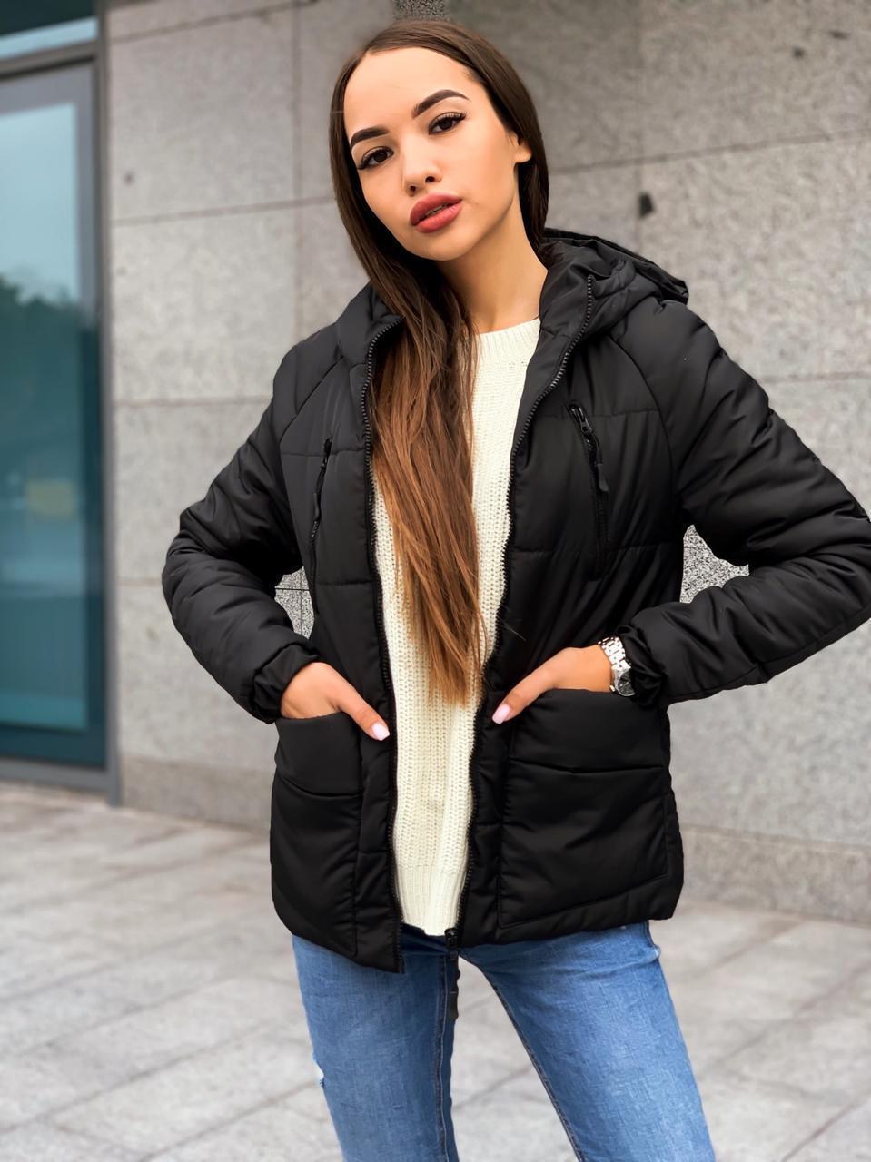 Демисезонная женская куртка с капюшоном и на молнии 65kur158