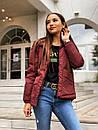 Демисезонная женская куртка с капюшоном и на молнии 65kur158, фото 4