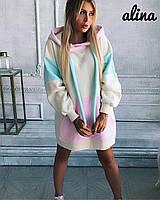 Женское свободное платье худи из трехнитки на флисе 38plt219