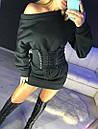 Теплое платье со спадающим плечом и шнуровкой на талии 16plt224, фото 2