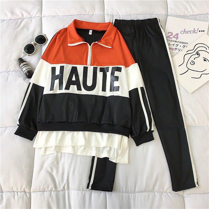 Женский спортивный костюм с лампасами и надписью на кофте 68spt789