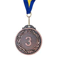 Медаль наградная с лентой d=60 мм бронза 348-3